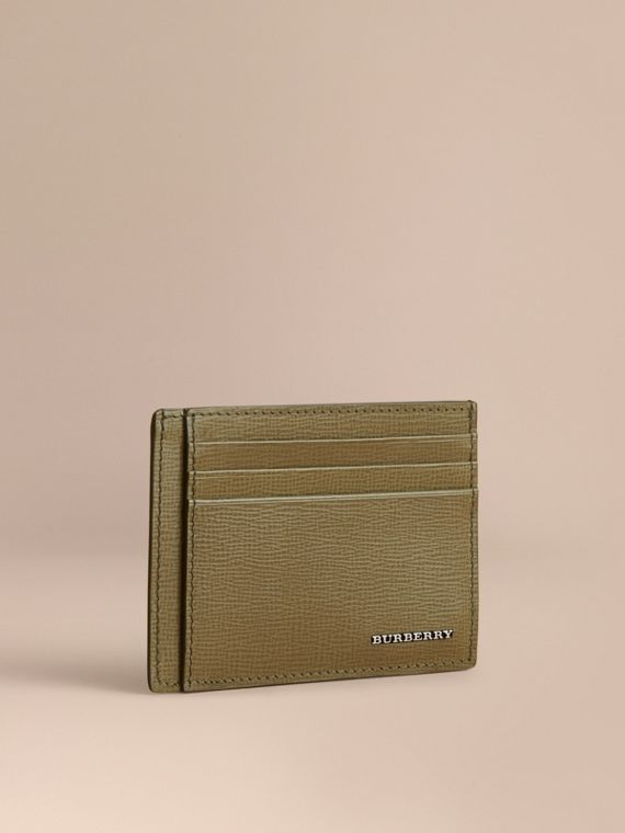 London Leather Card Case in Olive Green | Burberry