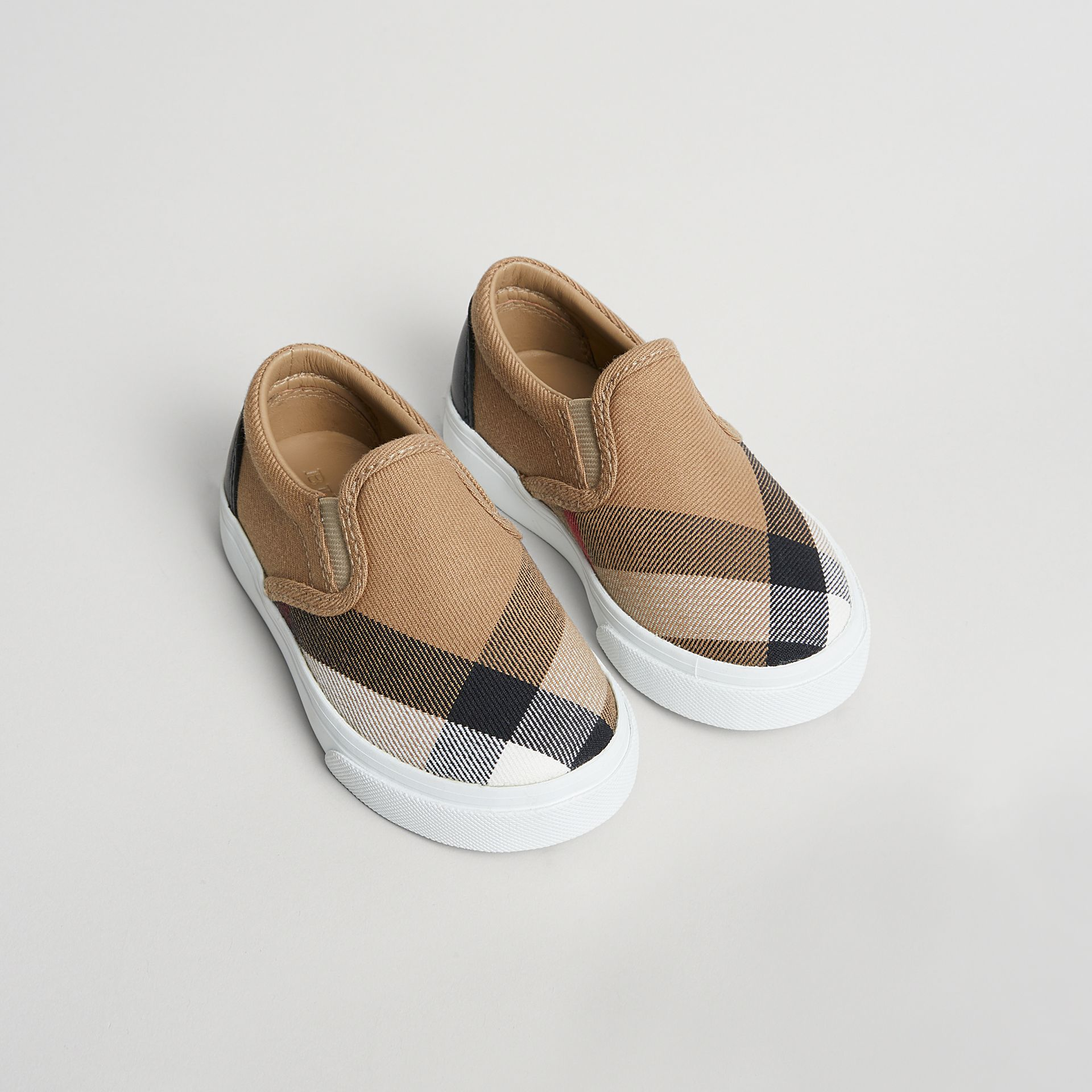 House Check and Leather Slip-on Sneakers in Classic/optic White | Burberry - gallery image 0