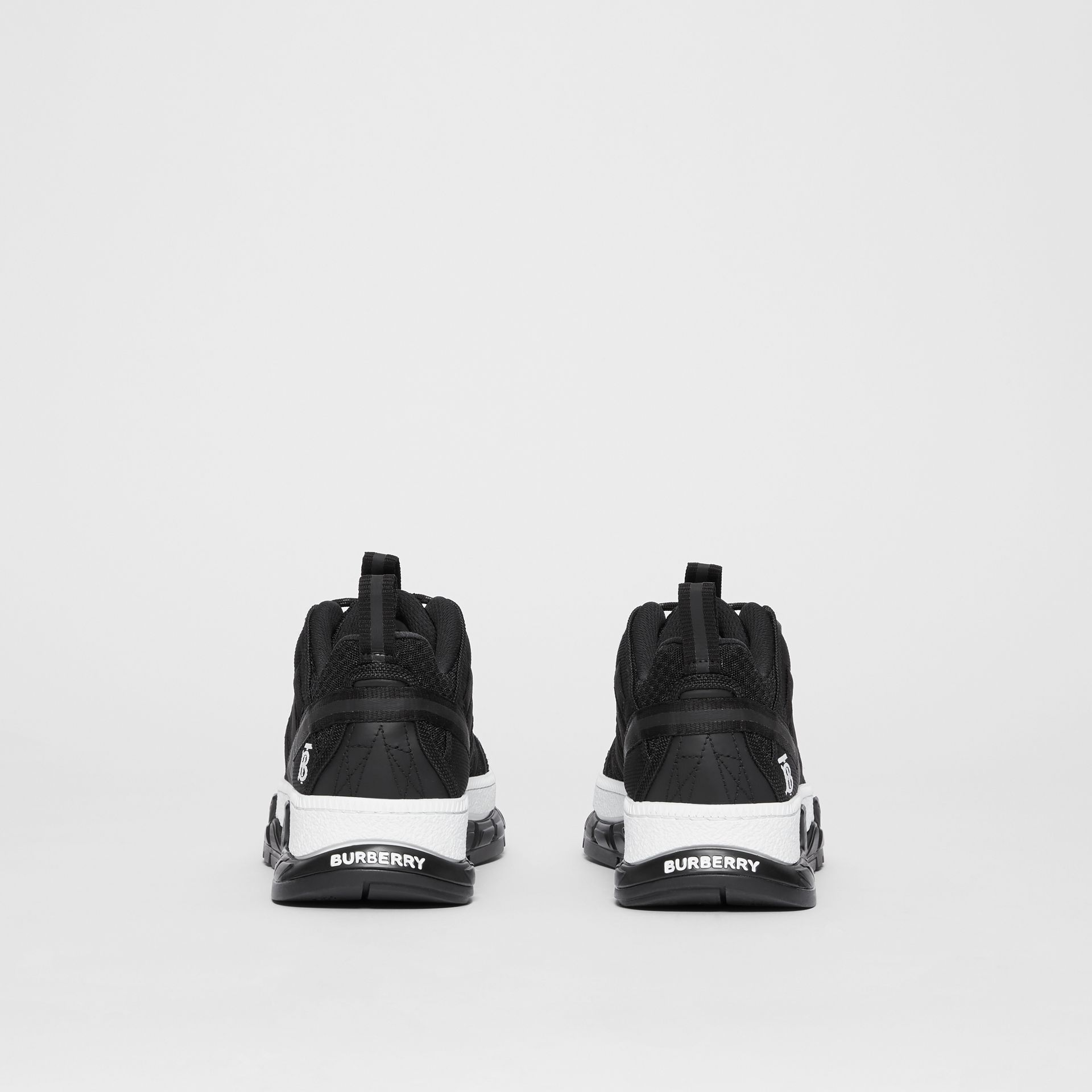 Mesh and Nubuck Union Sneakers in Black - Women | Burberry Australia - gallery image 3