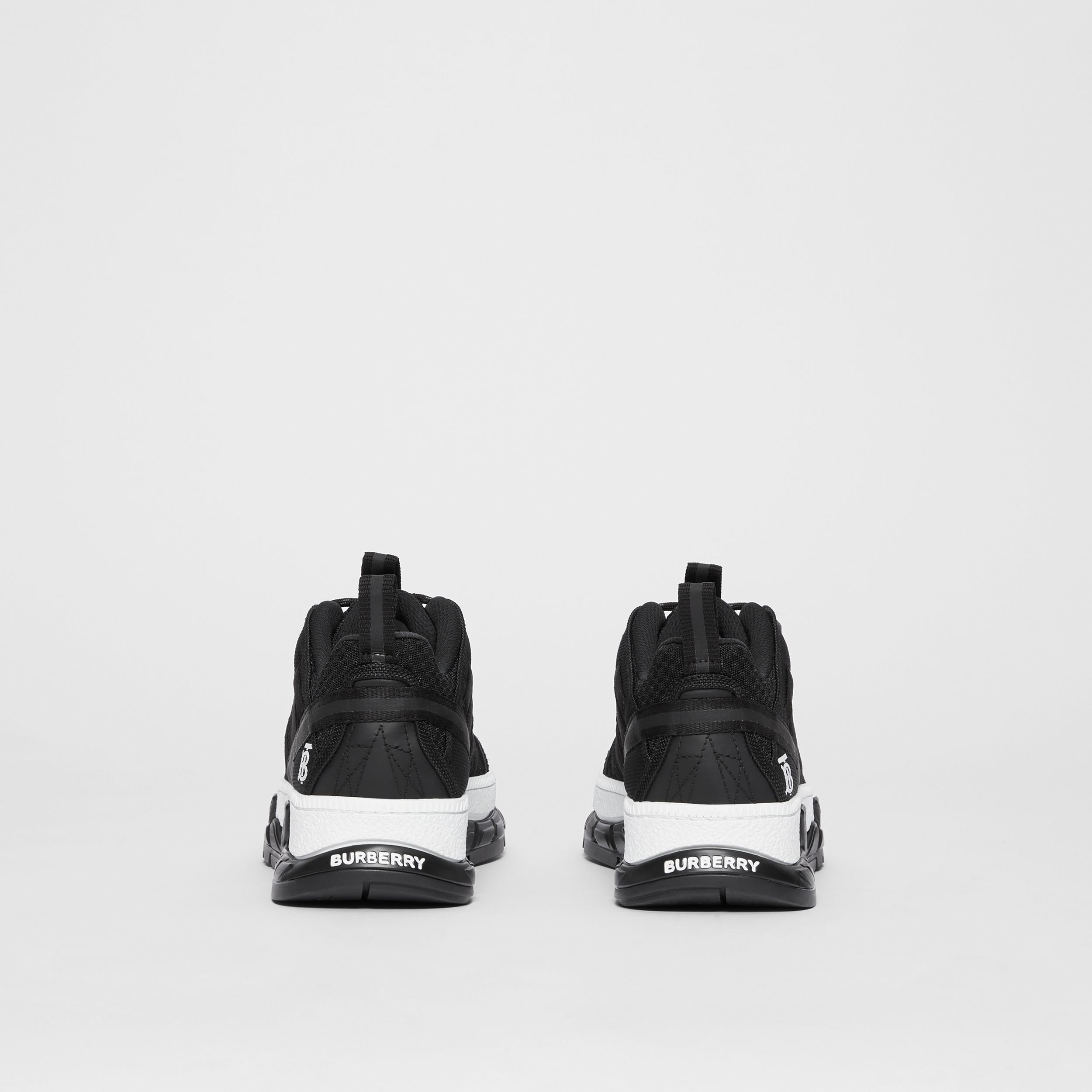 Mesh and Nubuck Union Sneakers in Black - Women | Burberry - 4