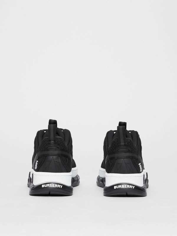 Mesh and Nubuck Union Sneakers in Black - Women | Burberry Australia - cell image 3
