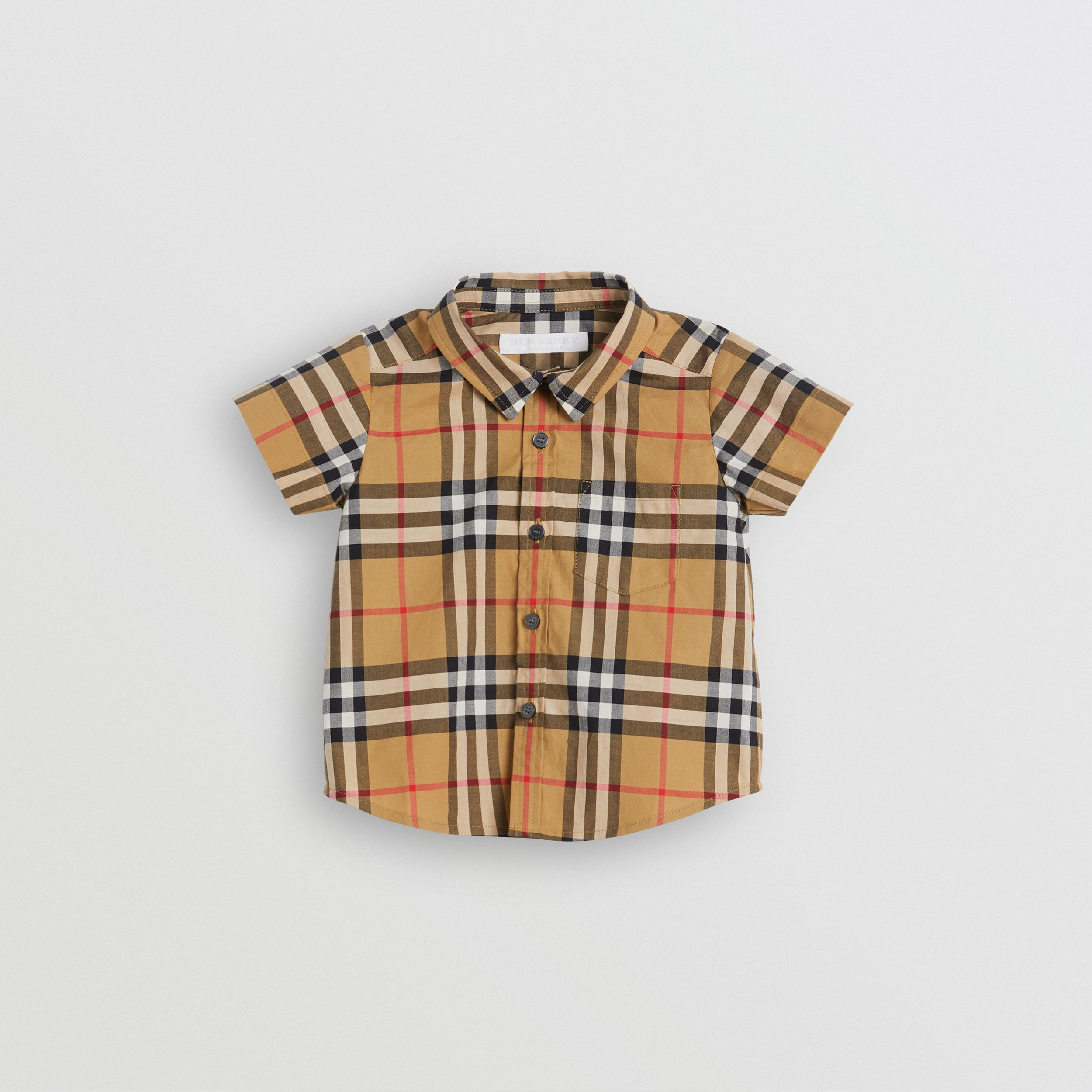 Short-sleeve Vintage Check Cotton Shirt in Antique Yellow - Children | Burberry - 1