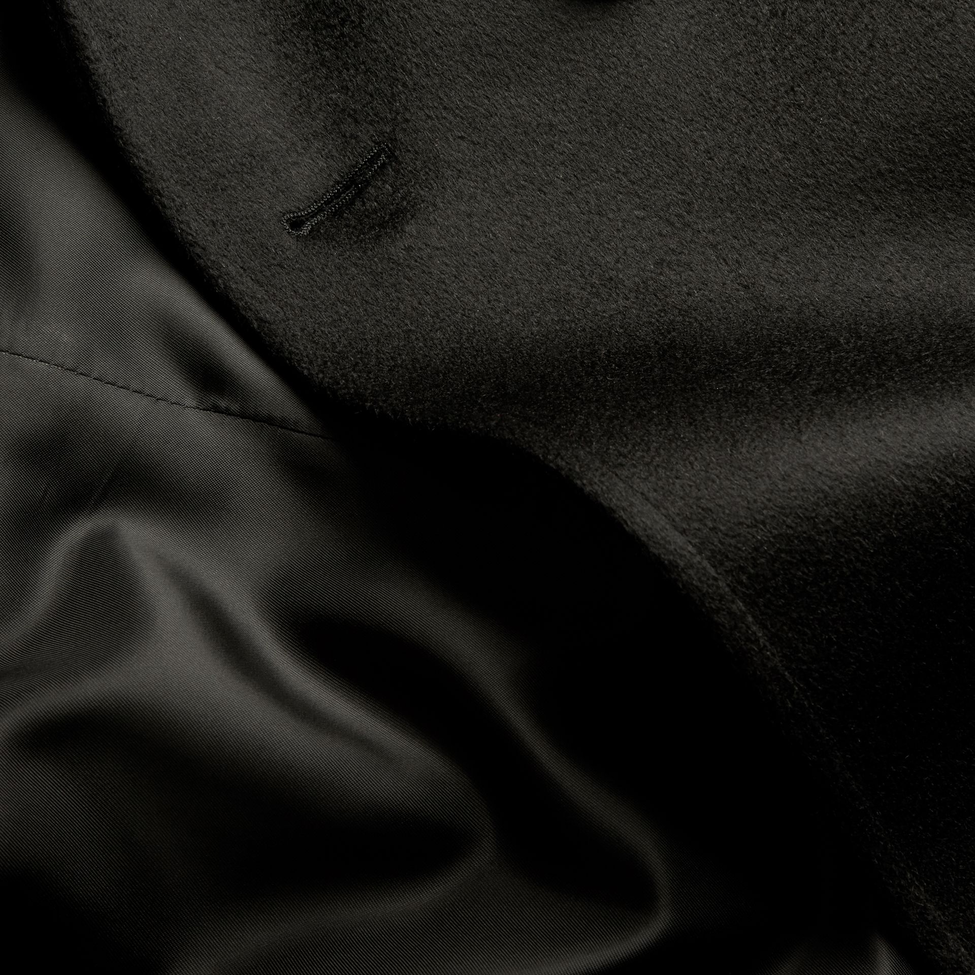 Black Cashmere Trench Coat Black - gallery image 2