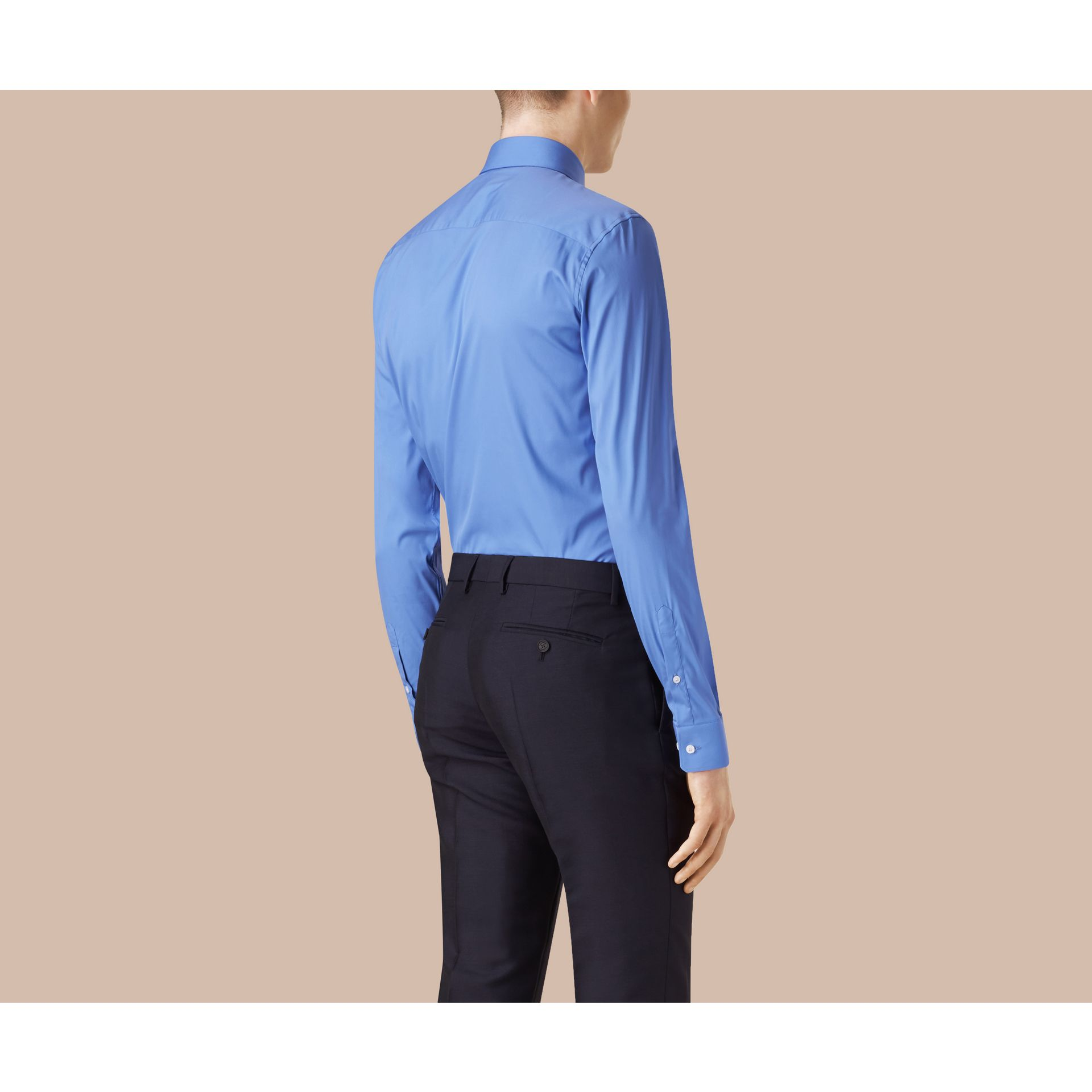 Slim Fit Stretch Cotton Shirt in Mid Blue - gallery image 3