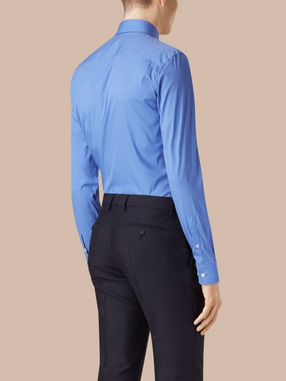 Slim Fit Stretch Cotton Shirt in Mid Blue - cell image 2