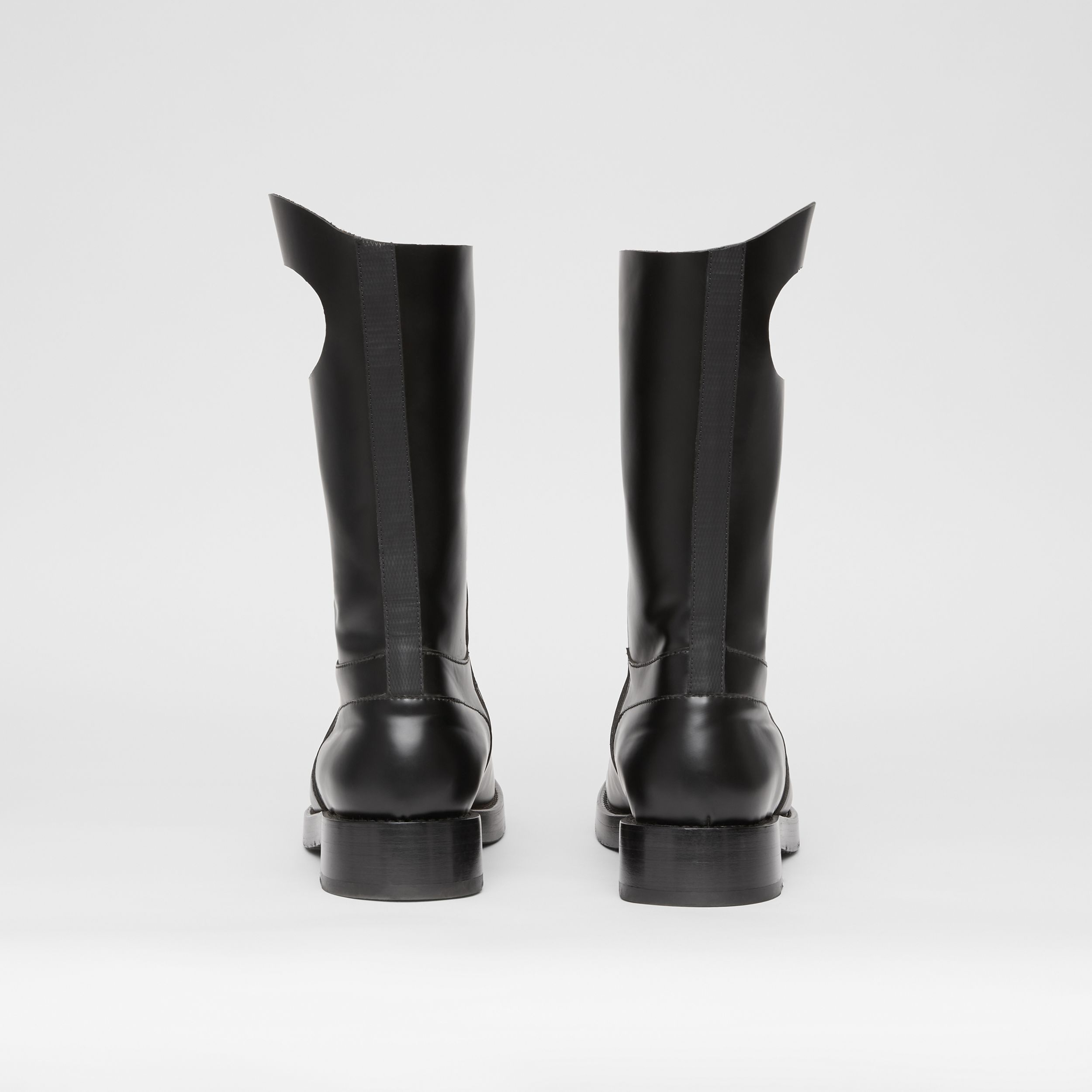 Porthole Detail Panelled Leather Boots in Black - Men | Burberry United Kingdom - 4