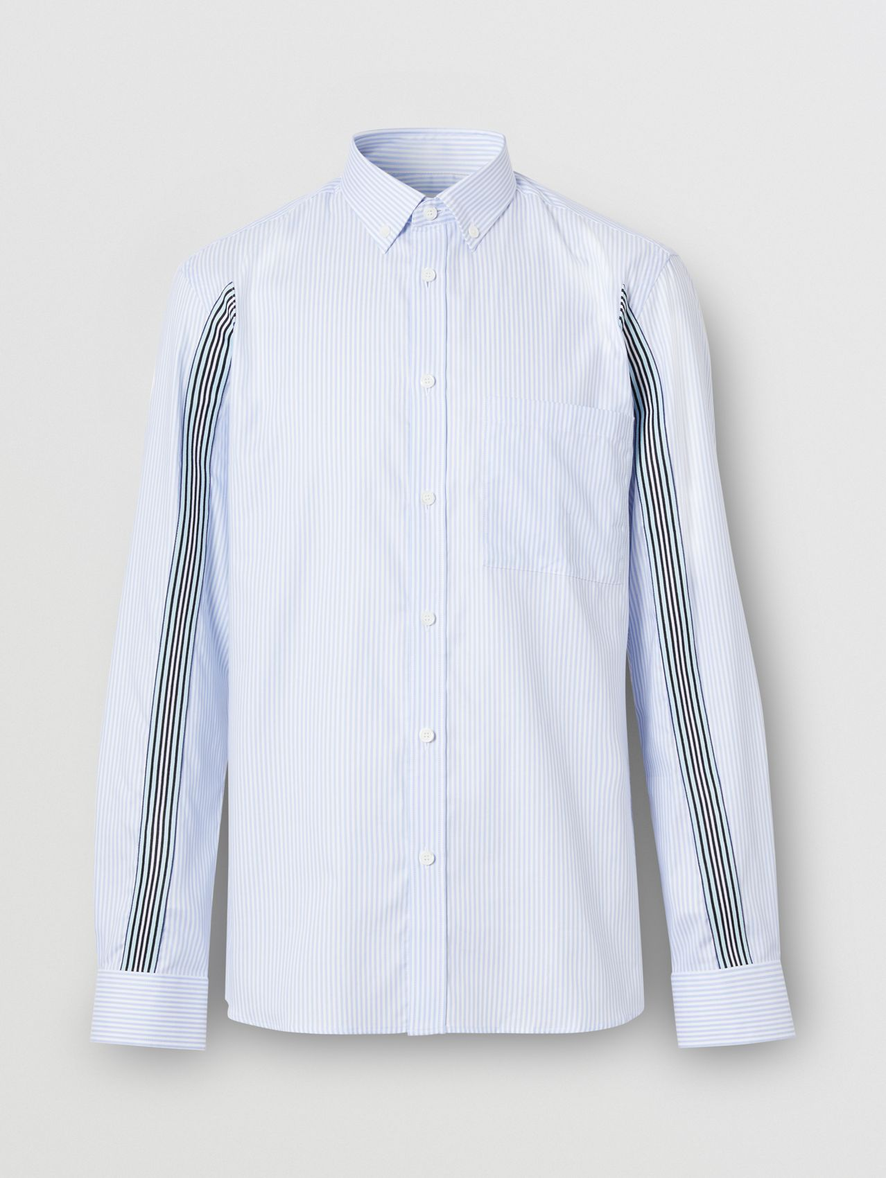 Slim Fit Icon Stripe Detail Striped Cotton Oxford Shirt in Pale Blue
