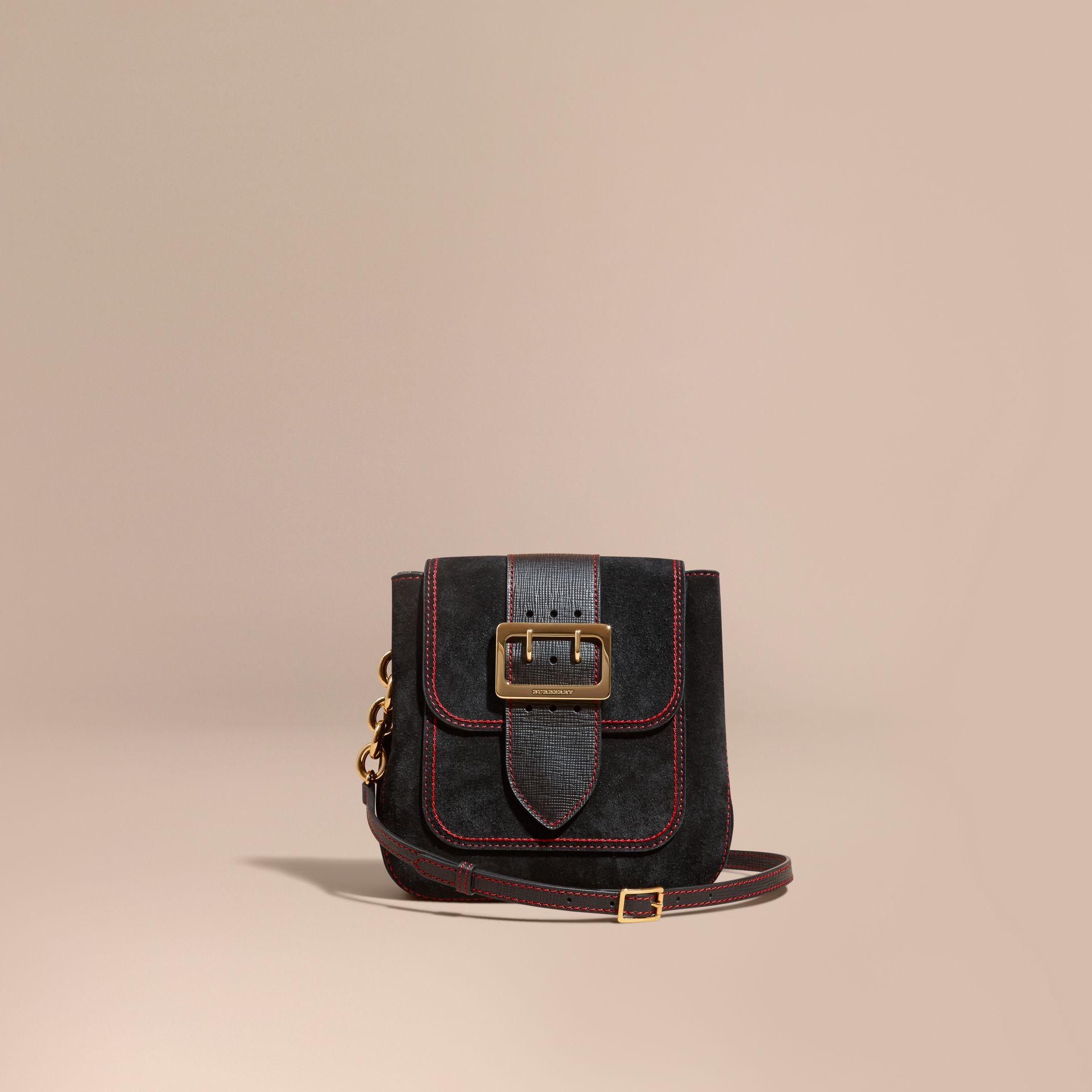 Black The Medium Buckle Bag – Square in English Suede and Leather - gallery image 8