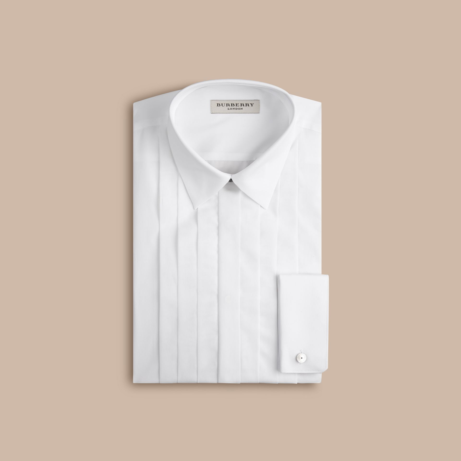 Slim Fit Cotton Poplin Dress Shirt in White - Men | Burberry - gallery image 5