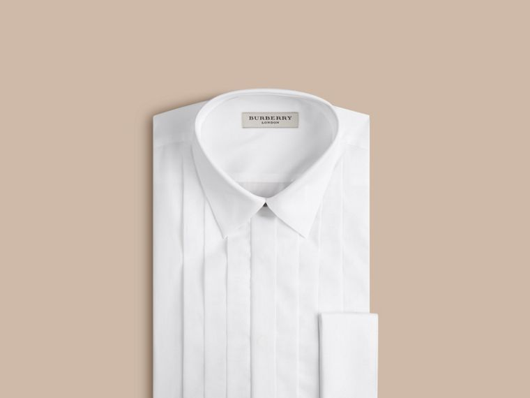 Slim Fit Cotton Poplin Dress Shirt in White - Men | Burberry - cell image 4