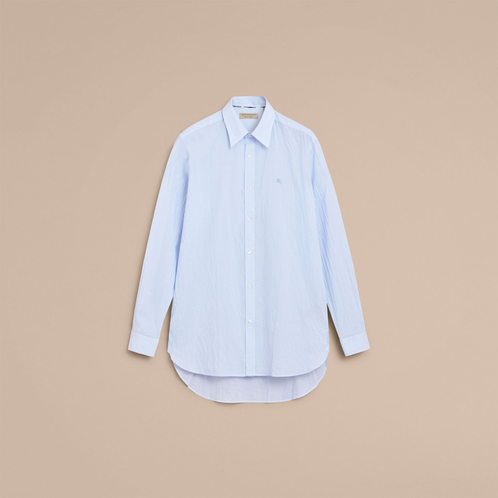 Striped Seersucker Stretch Cotton Shirt - gallery image 4