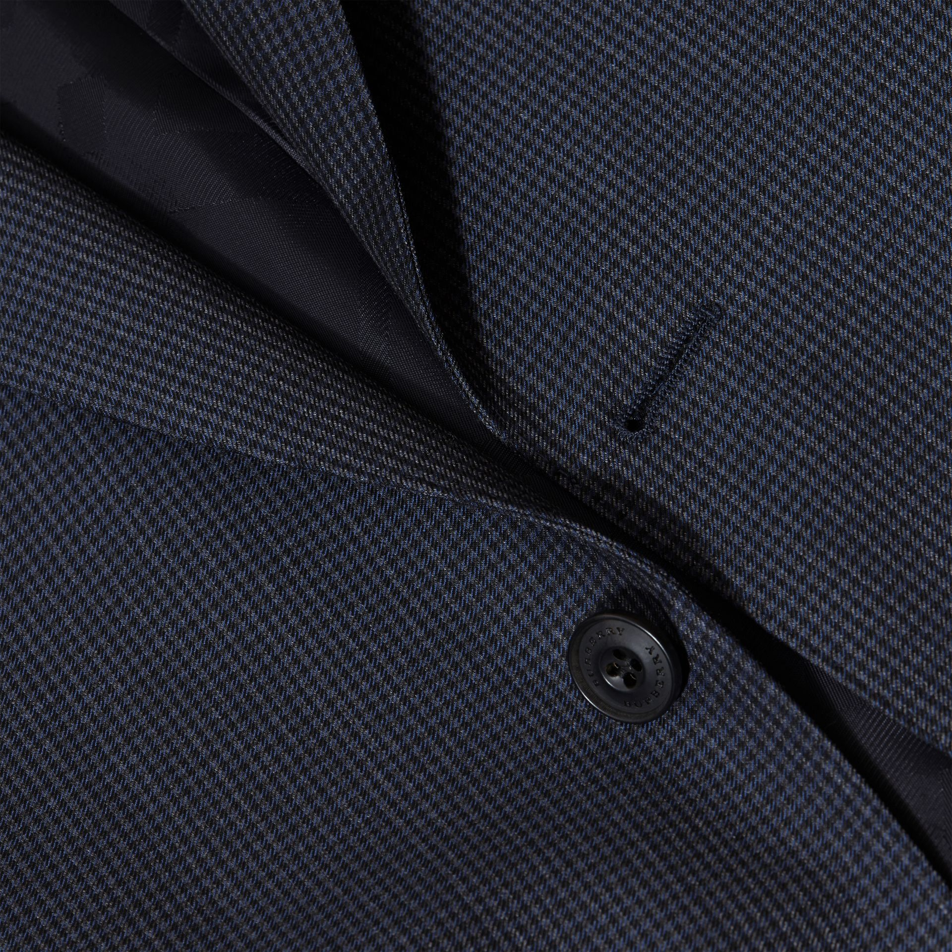 Navy Modern Fit Micro Check Part-canvas Suit - gallery image 2