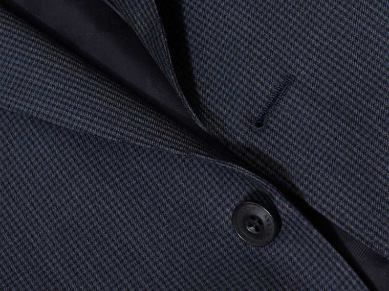 Navy Modern Fit Micro Check Part-canvas Suit - cell image 1