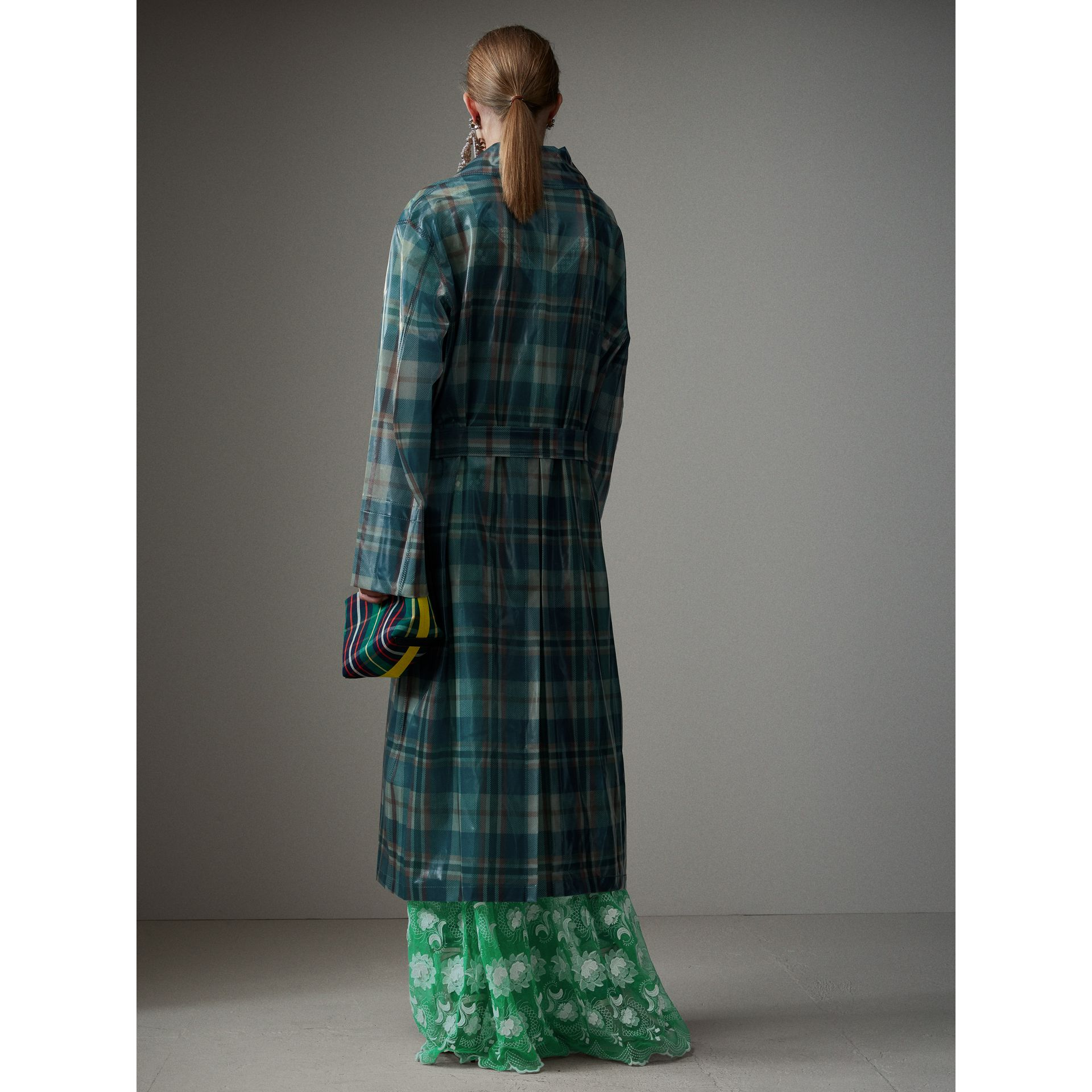 Tartan Soft-touch Plastic Oversized Car Coat in Blue/orange - Women | Burberry - gallery image 2