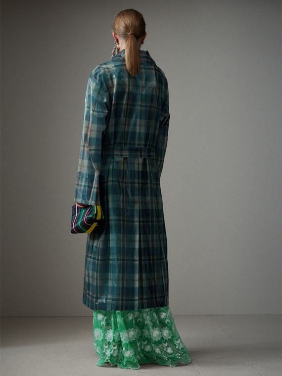 Tartan Soft-touch Plastic Oversized Car Coat in Blue/orange - Women | Burberry United Kingdom - cell image 2
