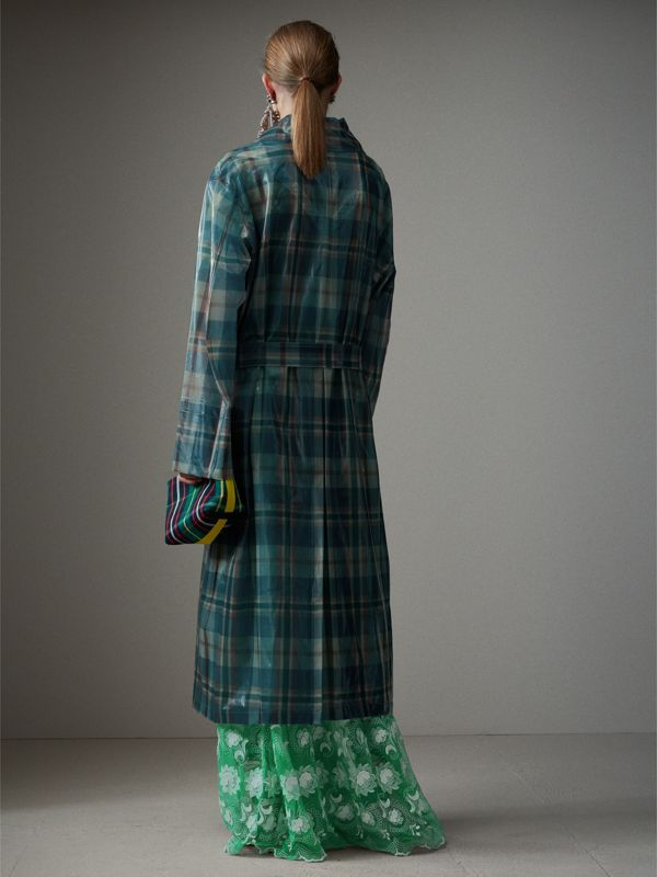 Tartan Soft-touch Plastic Oversized Car Coat in Blue/orange - Women | Burberry - cell image 2