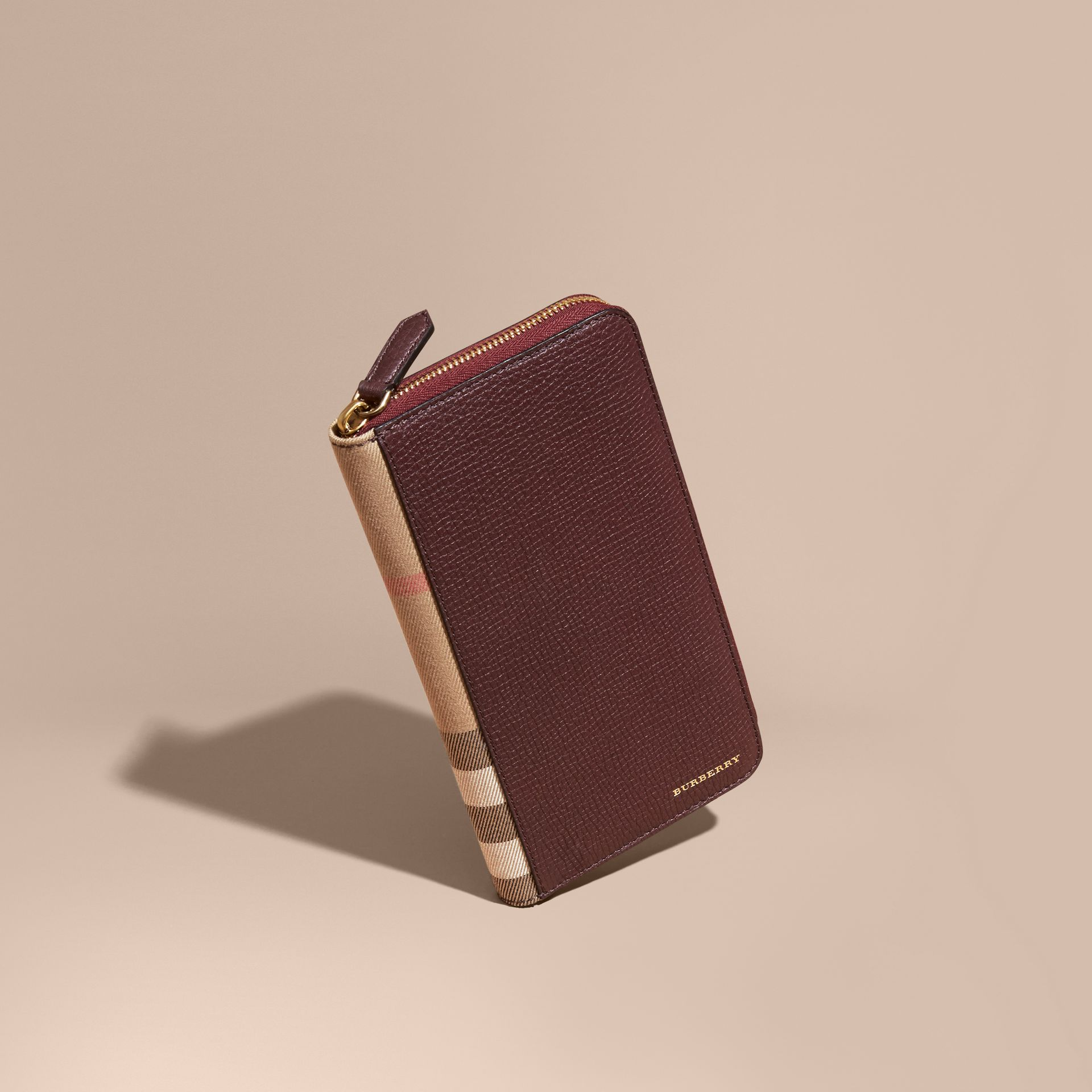 House Check and Grainy Leather Ziparound Wallet in Wine - gallery image 1