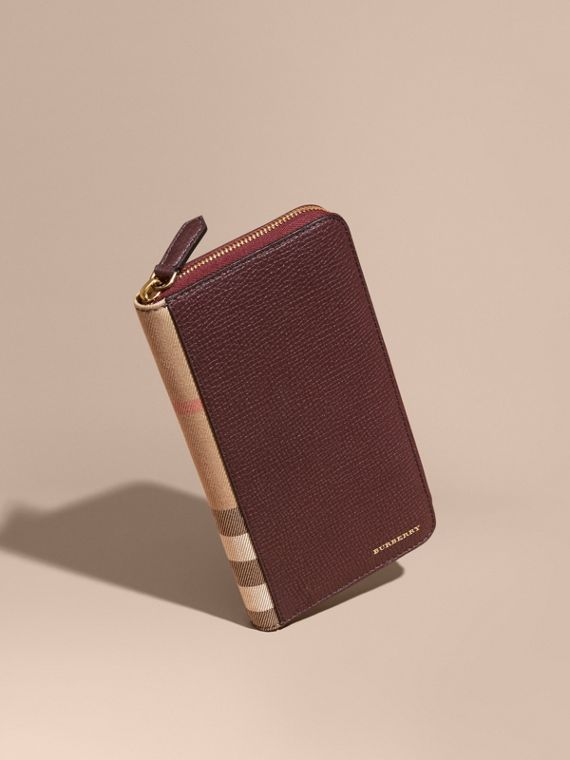 House Check and Grainy Leather Ziparound Wallet Wine