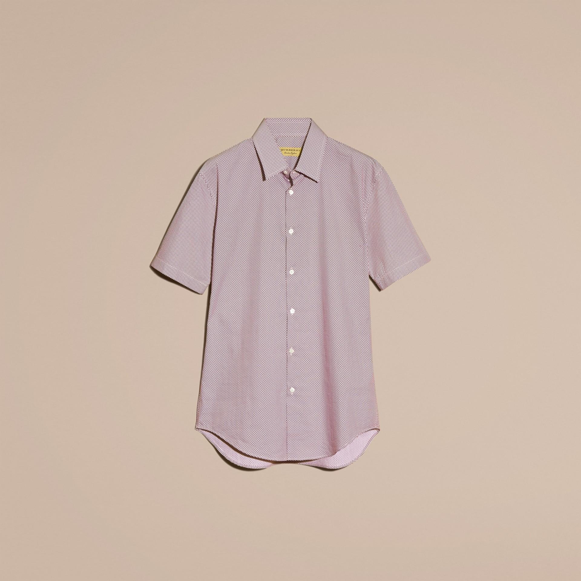 Carmine red Camisa de algodão com mangas curtas e estampa de poás - galeria de imagens 4