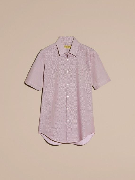 Carmine red Camisa de algodão com mangas curtas e estampa de poás - cell image 3