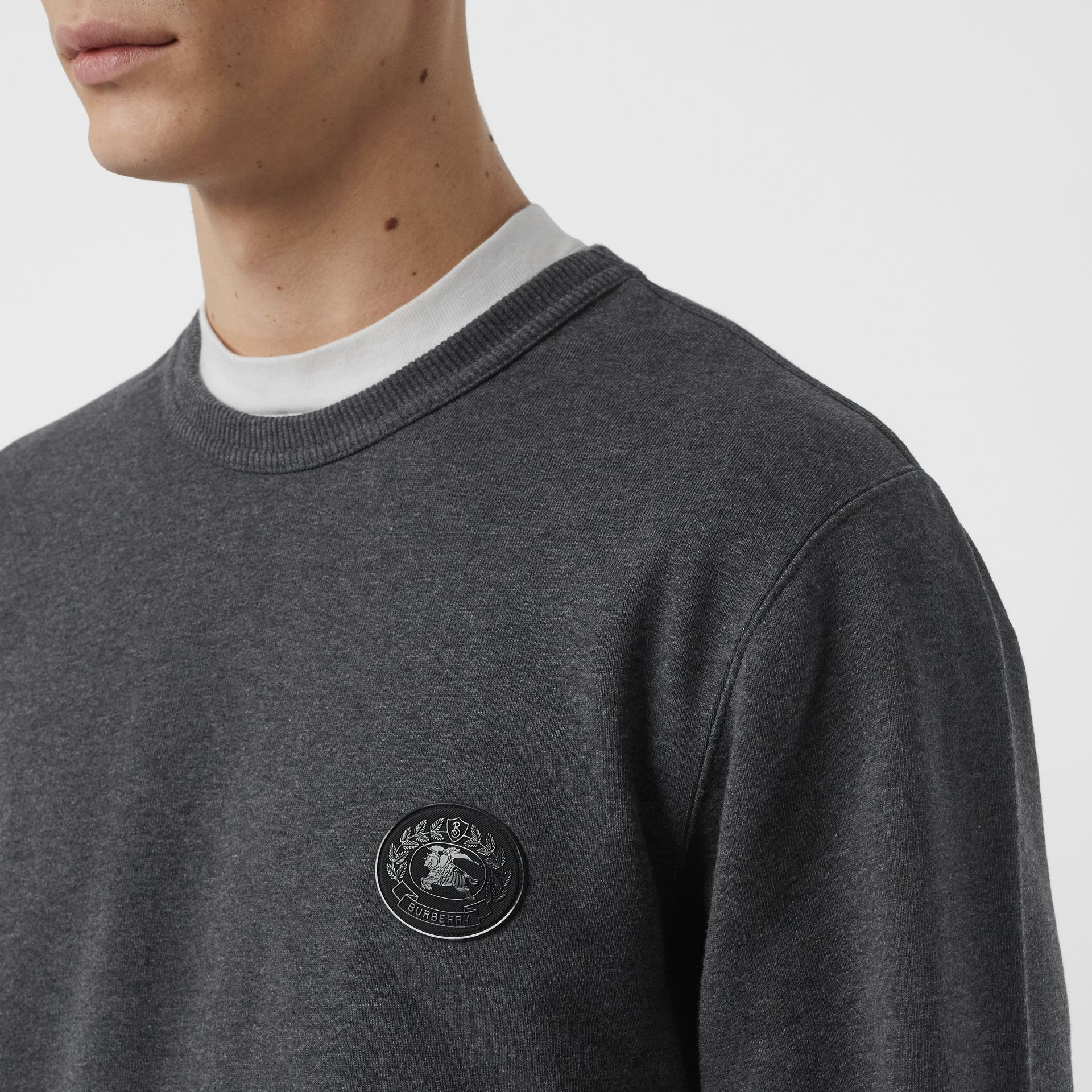 Embroidered Crest Cotton Sweatshirt in Mid Grey Melange - Men | Burberry - gallery image 1