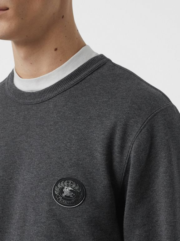 Embroidered Crest Cotton Sweatshirt in Mid Grey Melange - Men | Burberry Canada - cell image 1