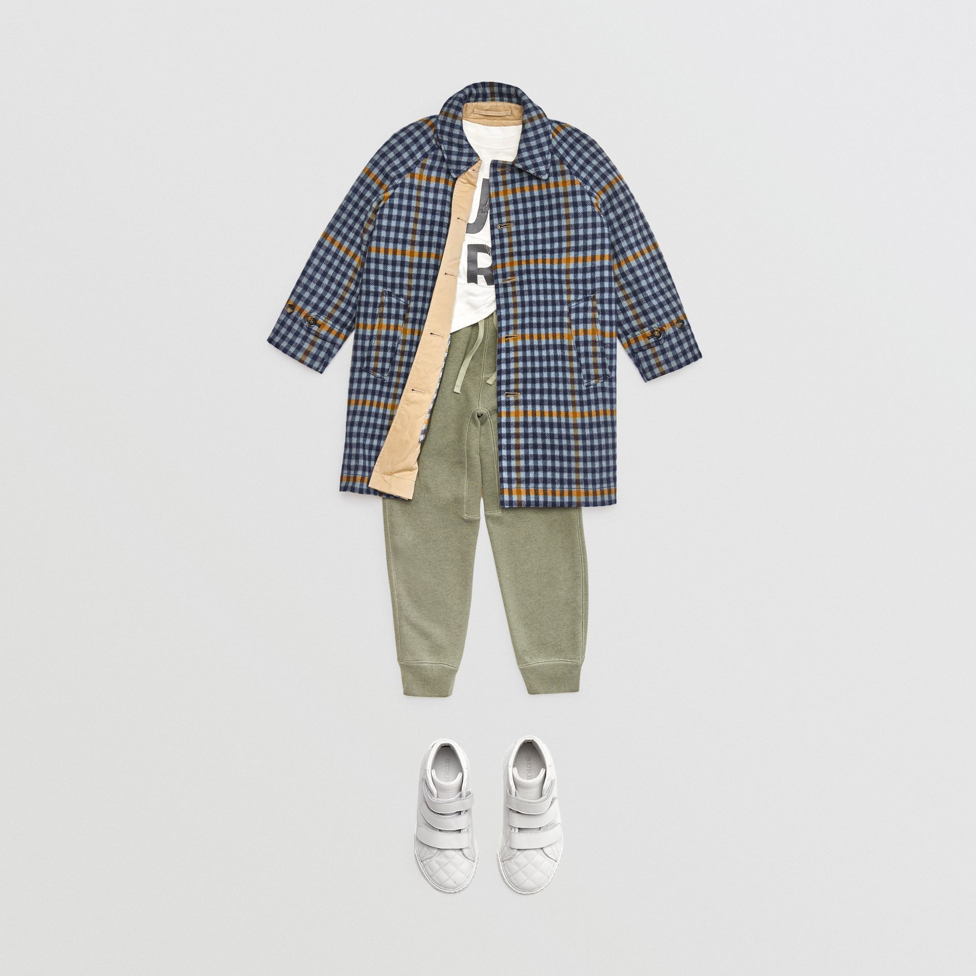 Reversible Check Wool and Cotton Car Coat in Canvas Blue | Burberry - gallery image 3