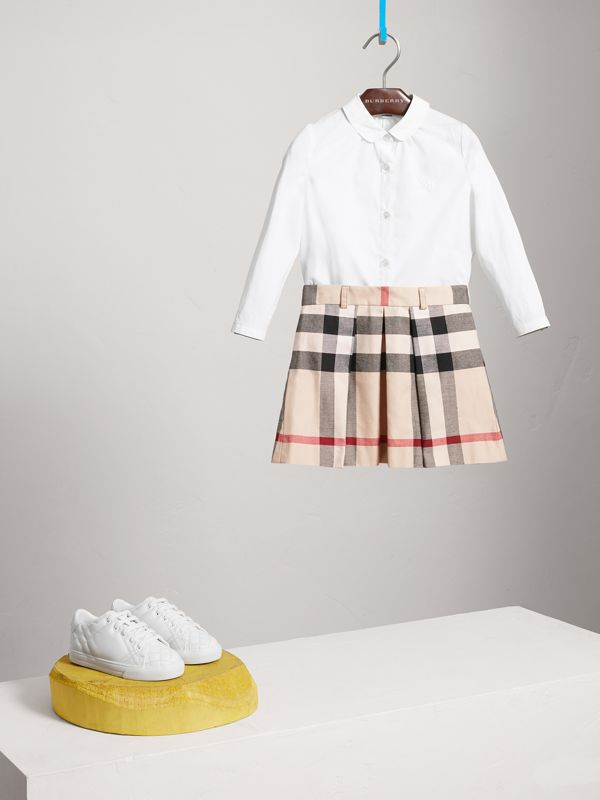 Pleated Check Cotton Skirt in Stone | Burberry - cell image 2
