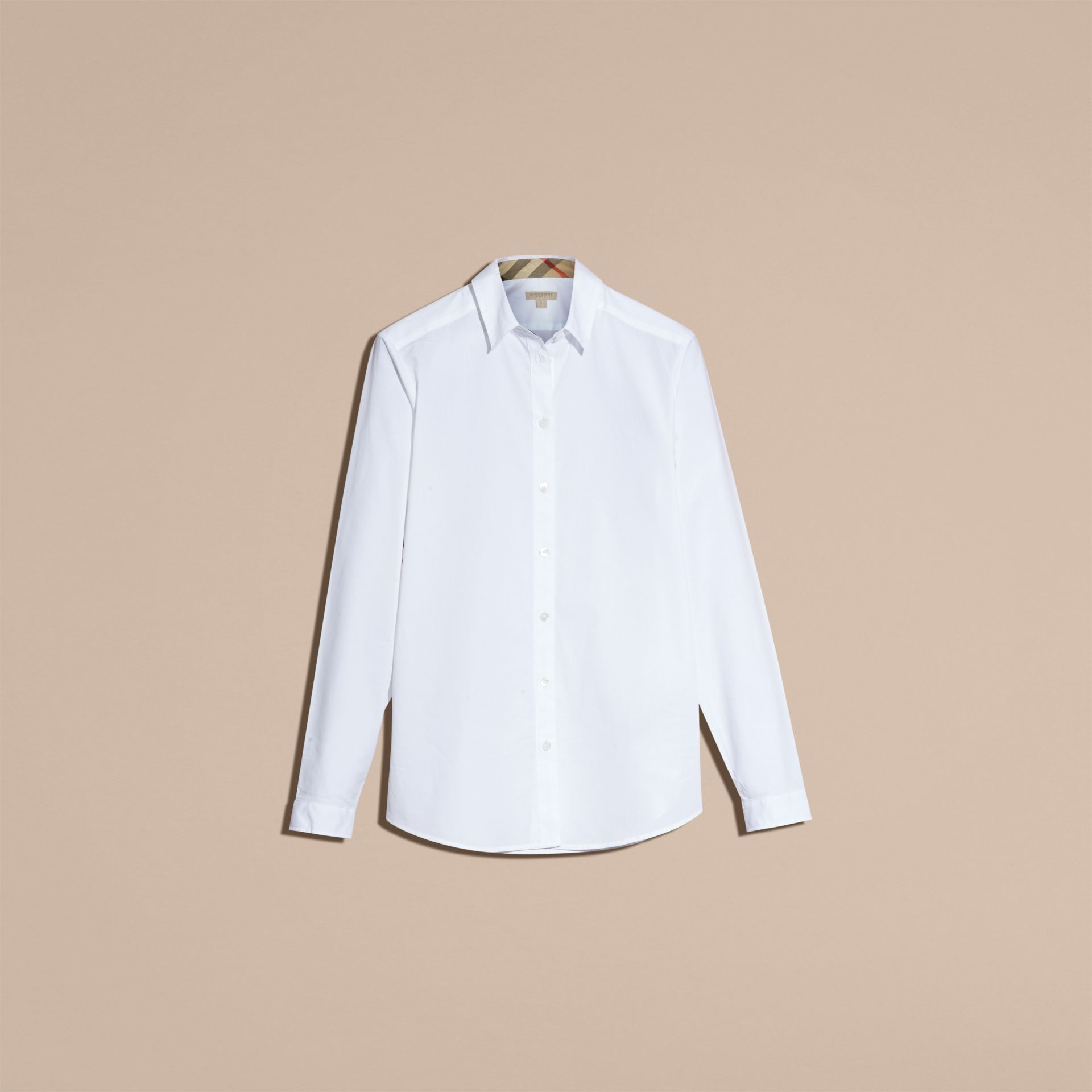 White Check Detail Stretch Cotton Shirt - gallery image 4