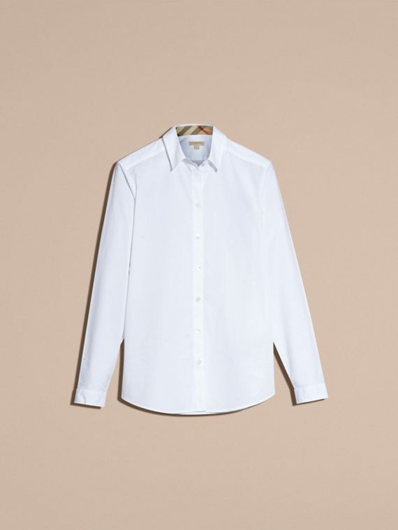 White Check Detail Stretch Cotton Shirt - cell image 3