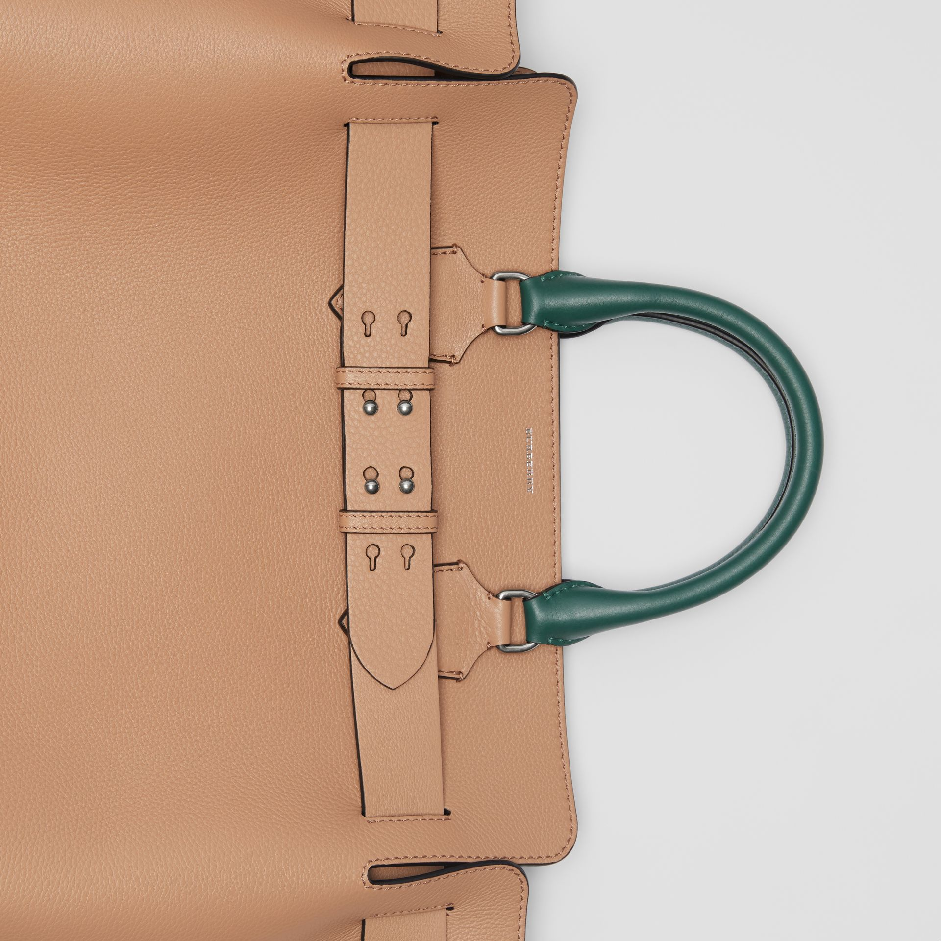 The Large Tri-tone Leather Belt Bag in Light Camel | Burberry Australia - gallery image 1