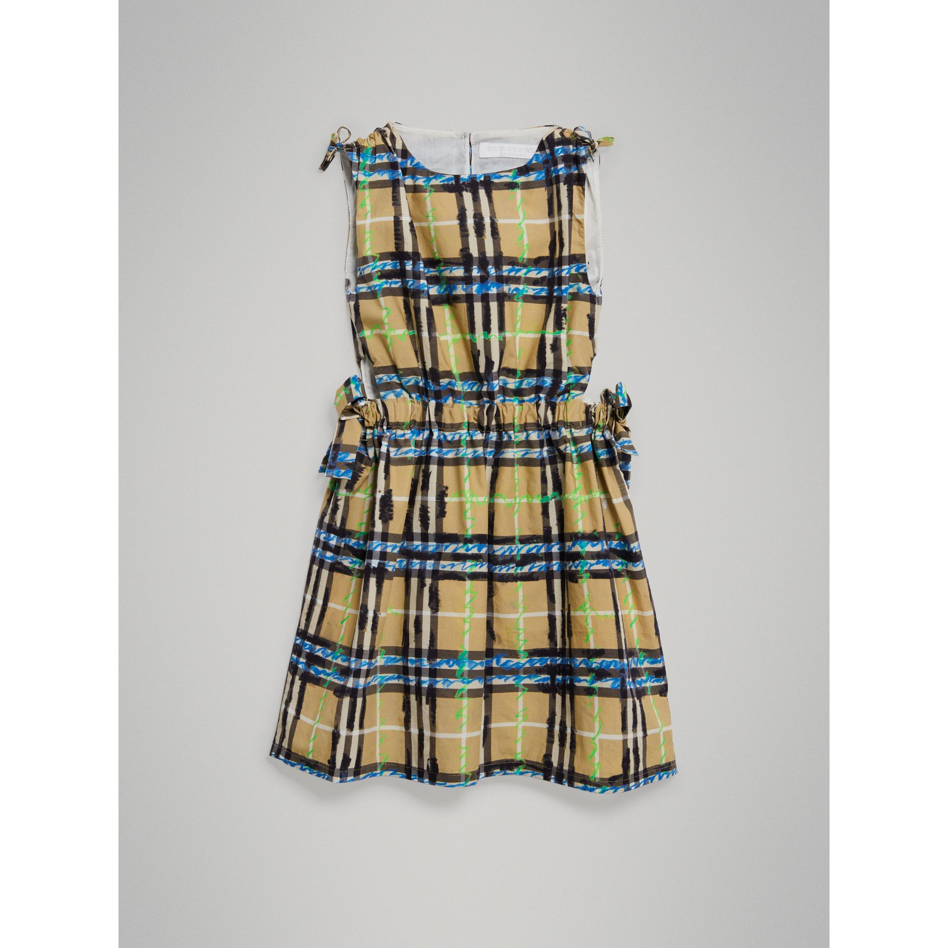 Tie-detail Scribble Check Cotton Dress in Bright Blue - Girl | Burberry - gallery image 2