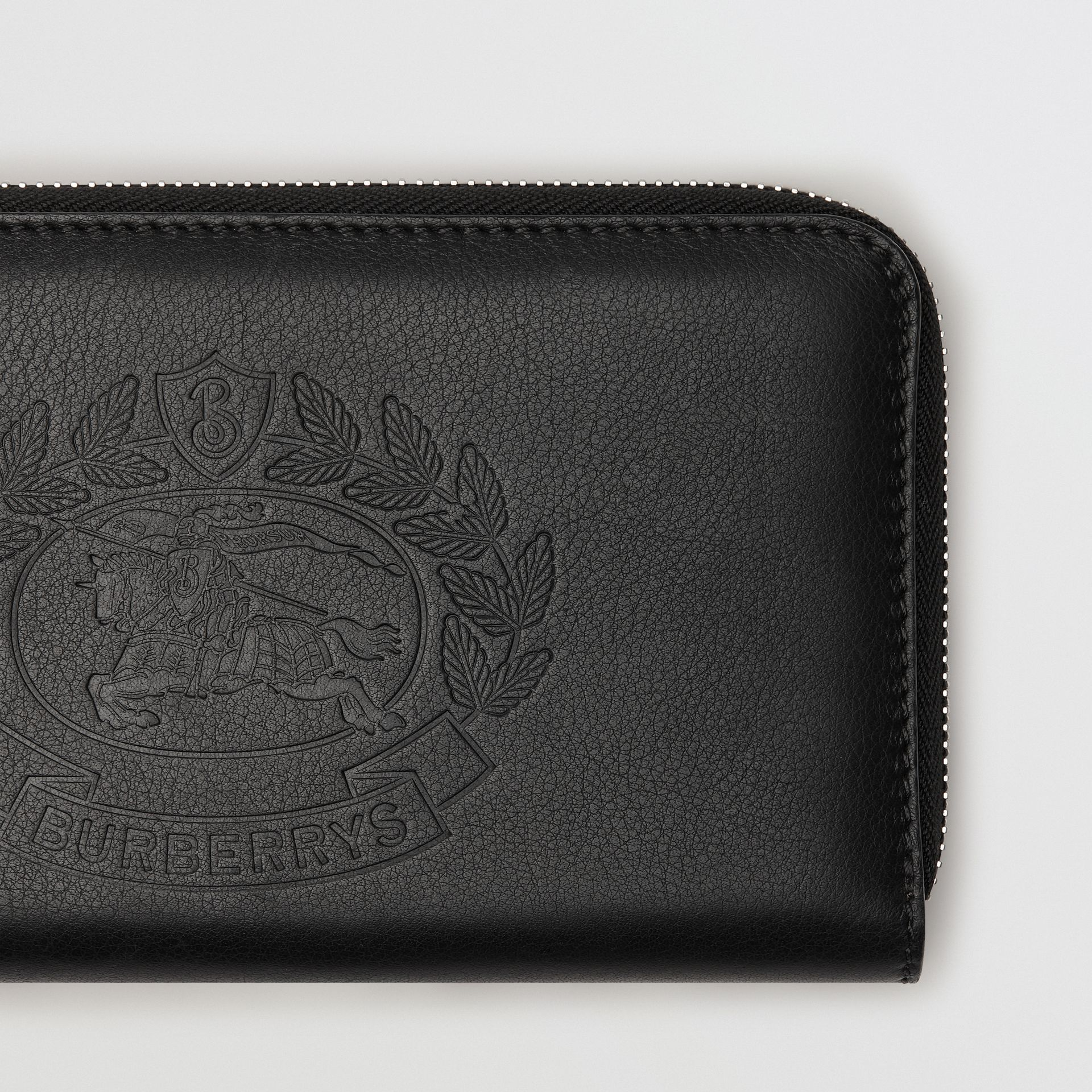 Embossed Crest Two-tone Leather Ziparound Wallet in Black - Women | Burberry - gallery image 1