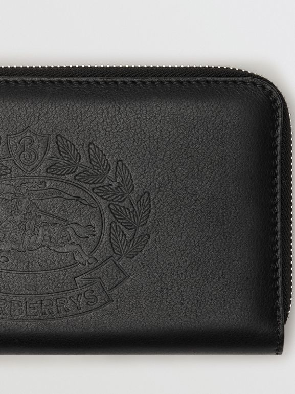 Embossed Crest Two-tone Leather Ziparound Wallet in Black - Women | Burberry United States - cell image 1