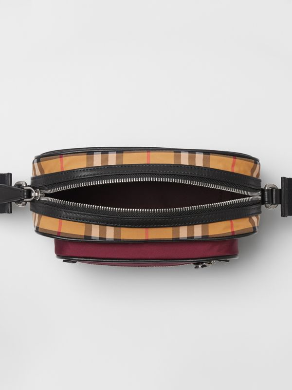 Colour Block Vintage Check Crossbody Bag in Oxblood - Men | Burberry Australia - cell image 3