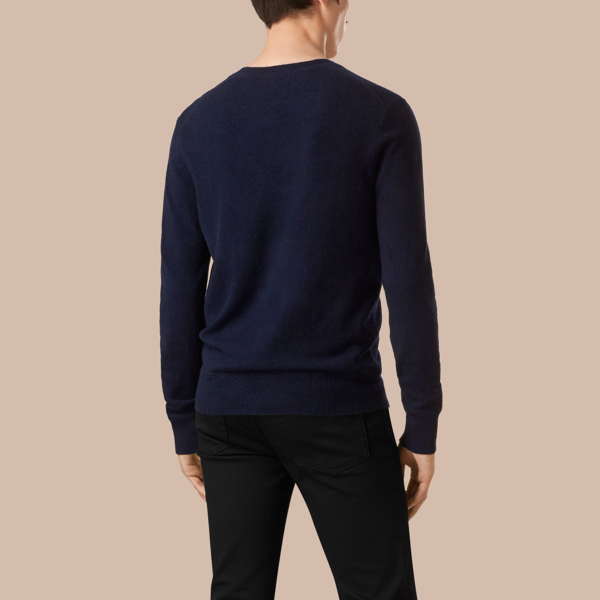 Crew Neck Cashmere Sweater Navy - gallery image 3