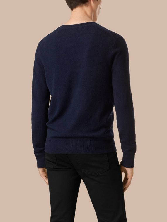 Crew Neck Cashmere Sweater Navy - cell image 2