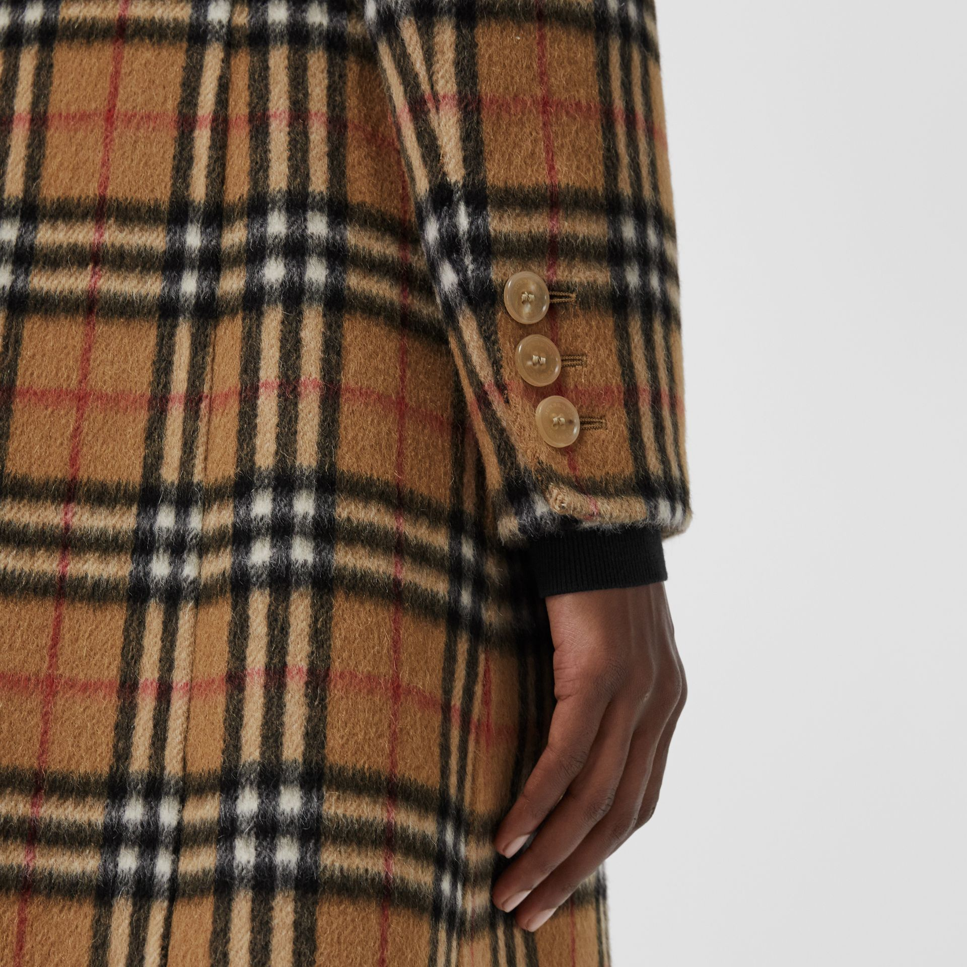 Vintage Check Alpaca Wool Tailored Coat in Antique Yellow - Women | Burberry Singapore - gallery image 4