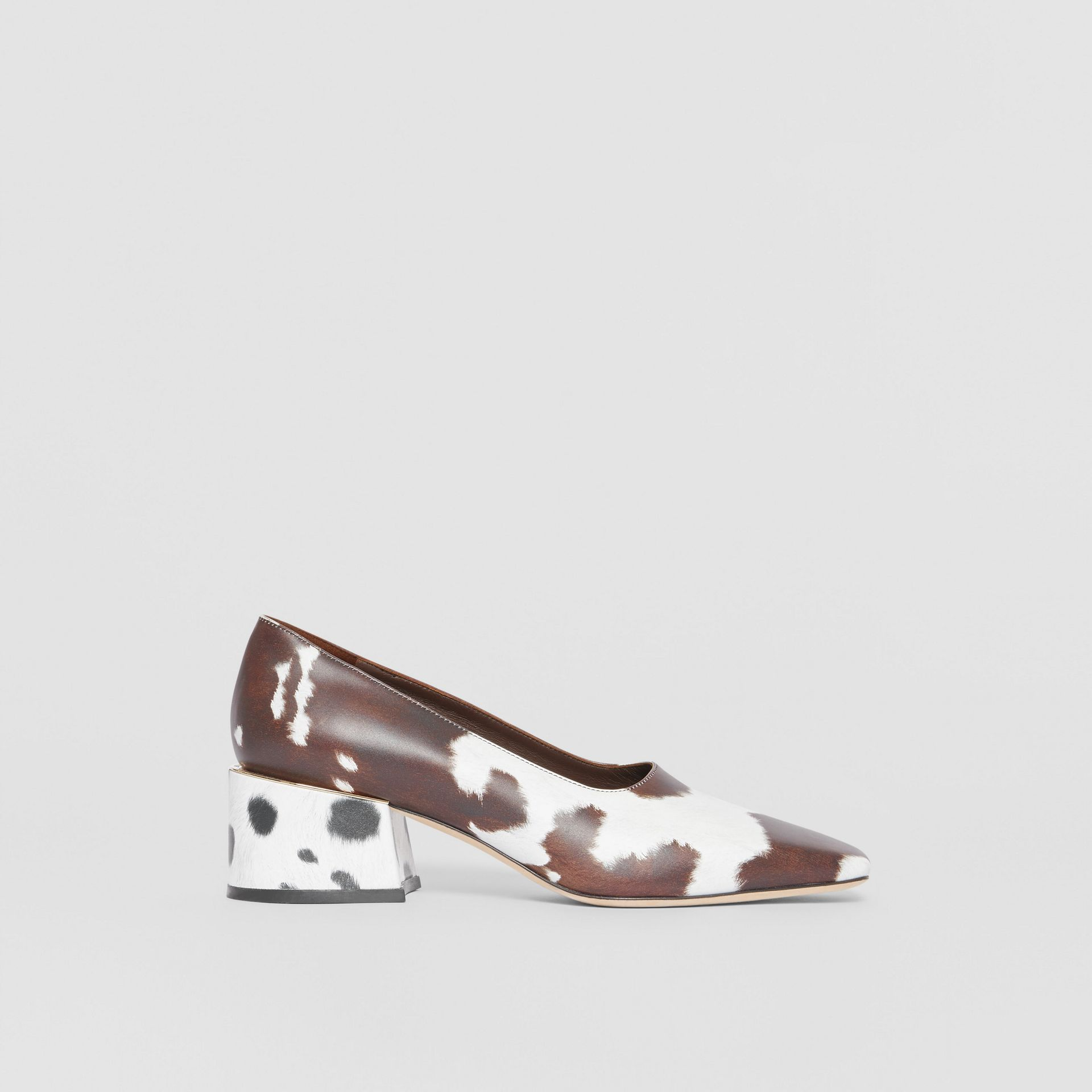 Animal Print Leather Block-heel Pumps in Cow - Women | Burberry - gallery image 4
