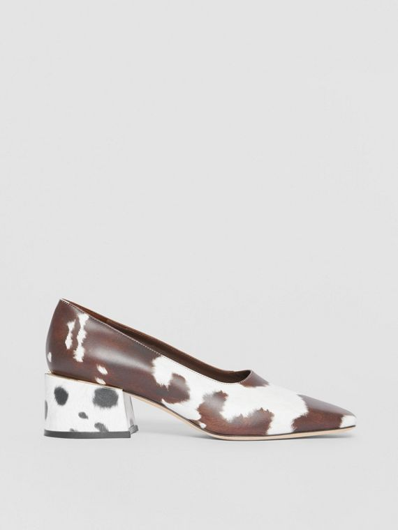Animal Print Leather Block-heel Pumps in Cow