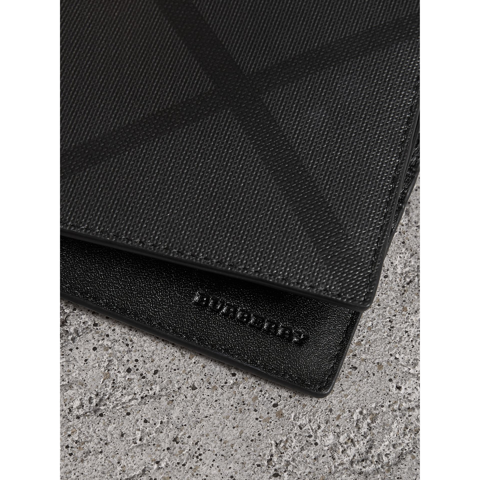 London Check Bifold Wallet with Removable Card Case in Charcoal/black - Men | Burberry Australia - gallery image 1