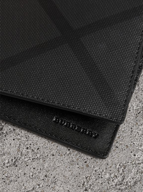 London Check Bifold Wallet with Removable Card Case in Charcoal/black - Men | Burberry Australia - cell image 1