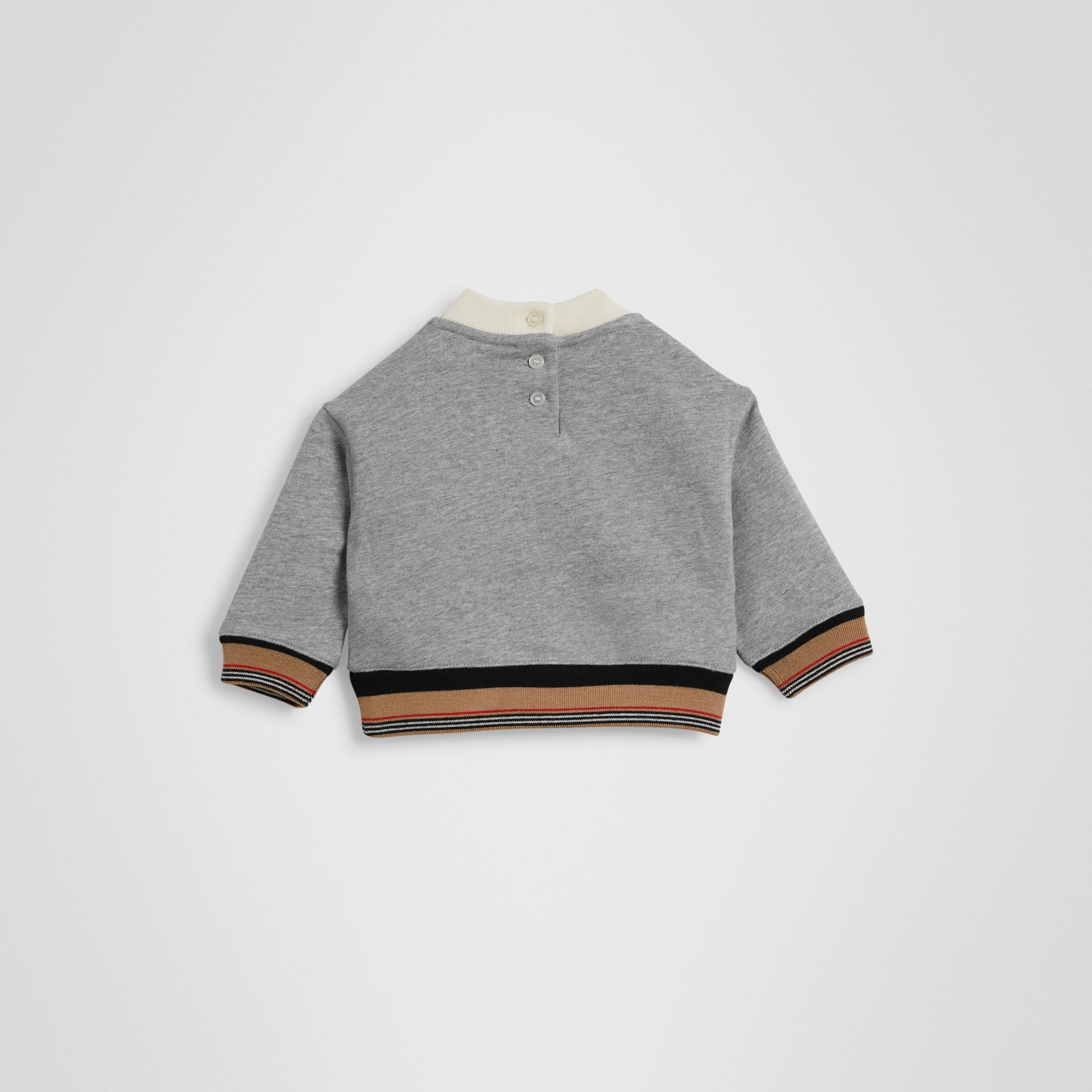 Embroidered Logo Cotton Sweatshirt in Grey Melange - Children | Burberry - gallery image 3