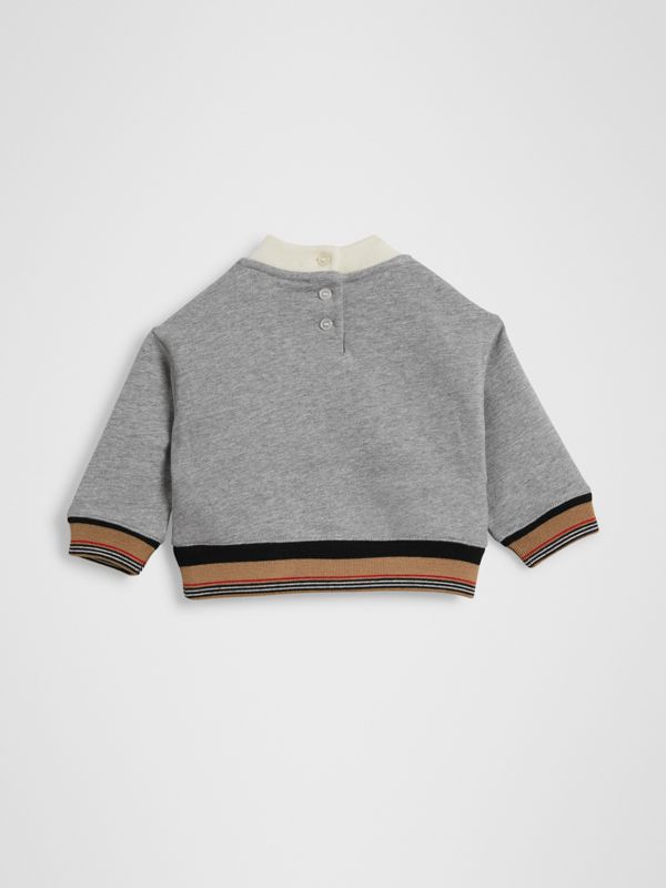 Embroidered Logo Cotton Sweatshirt in Grey Melange - Children | Burberry - cell image 3
