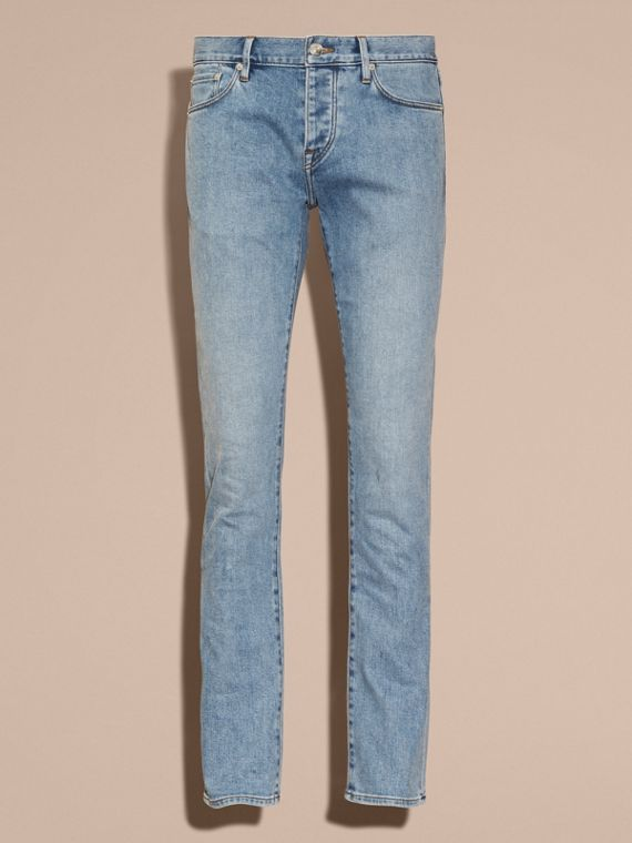 Indigo clair Jean stretch de coupe droite en denim japonais ultra-confortable - cell image 3
