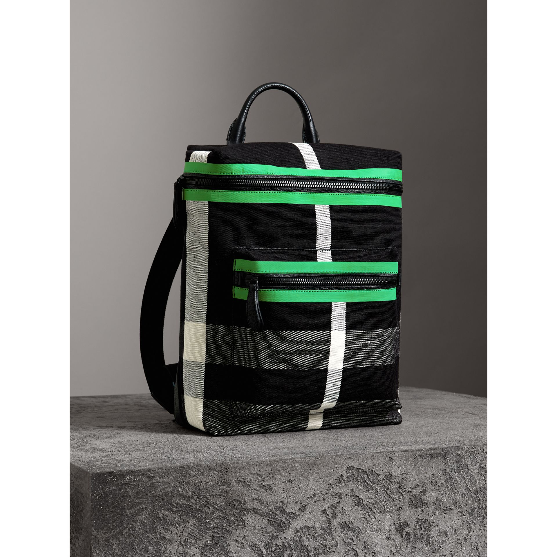 Zip-top Leather Trim Canvas Check Backpack in Racing Green/black - Men | Burberry - gallery image 6