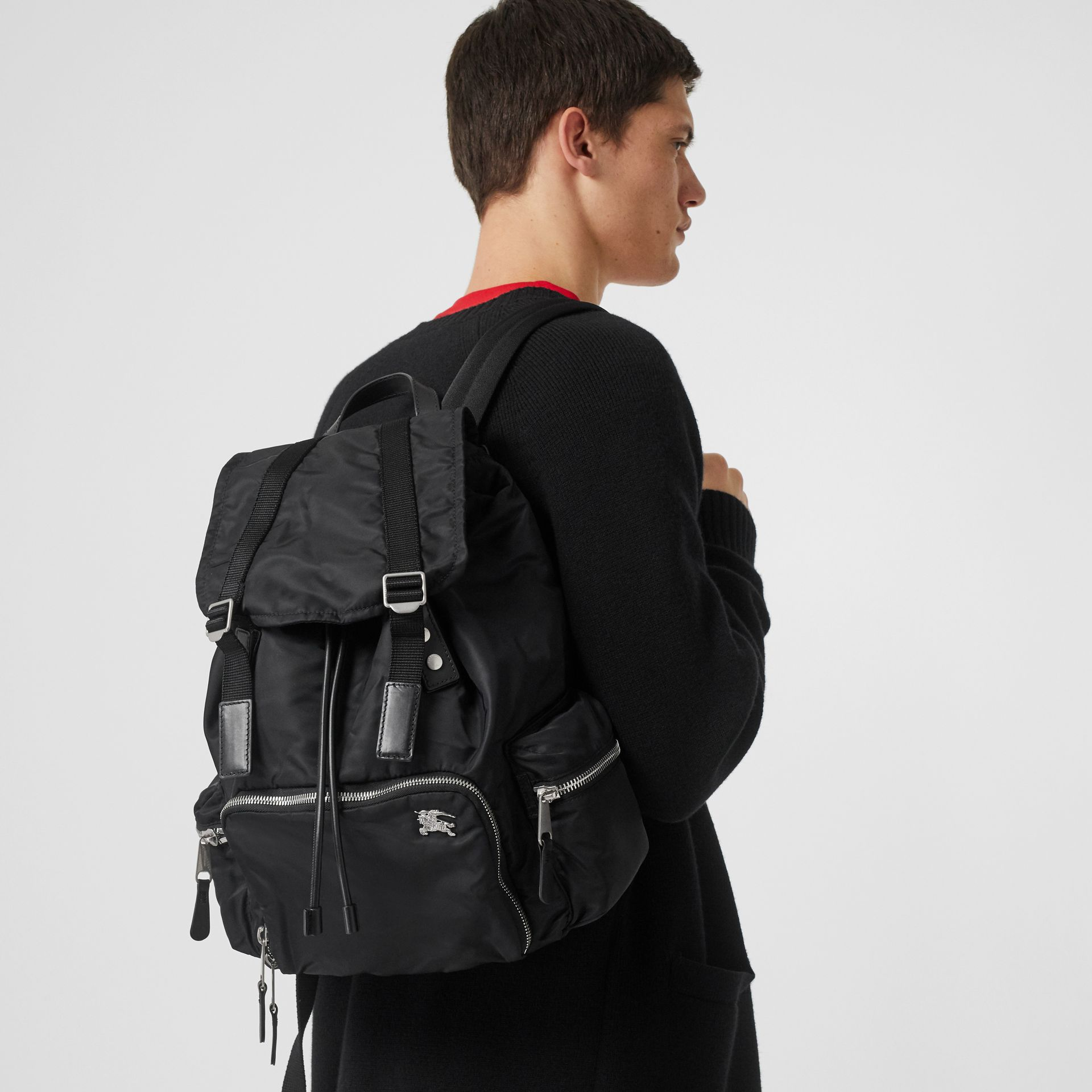 The Large Rucksack in Aviator Nylon and Leather in Black - Men | Burberry United States - gallery image 2