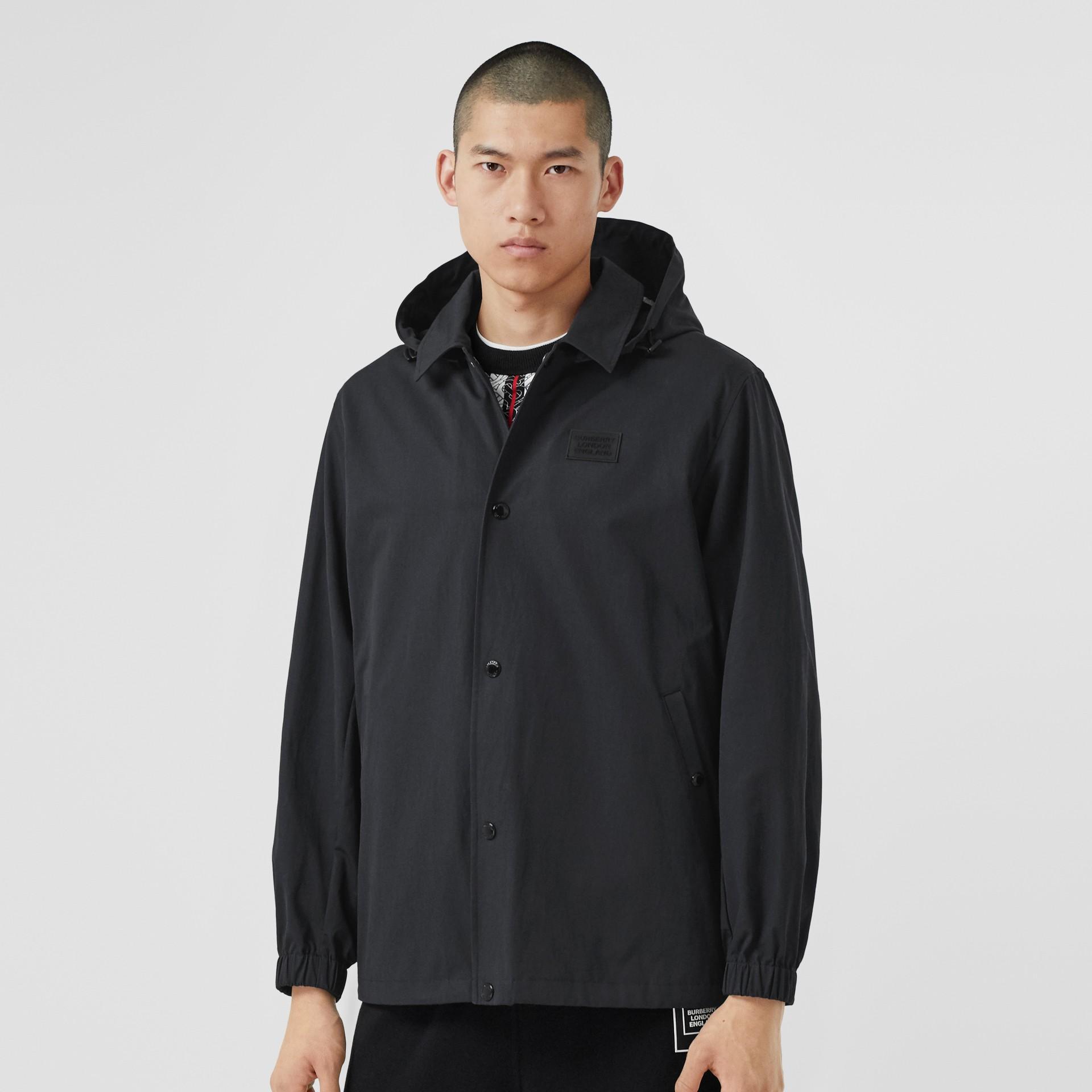 Detachable Hood Logo Appliqué Lightweight Jacket in Navy - Men | Burberry - gallery image 5