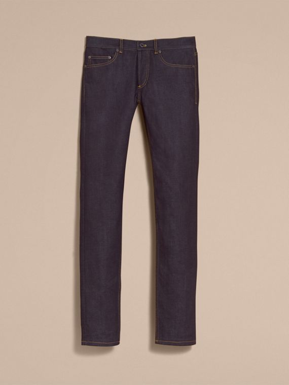 Slim Fit Raw Indigo Denim Jeans - Men | Burberry - cell image 3