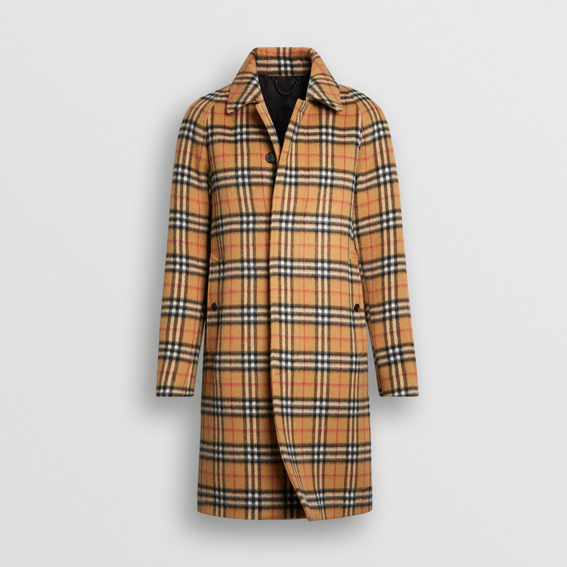Vintage Check Alpaca Wool Car Coat in Antique Yellow - Men | Burberry United States - gallery image 3